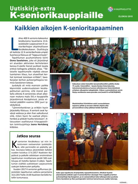 K-kauppiasliiton uutiskirje K-seniorikauppiaille